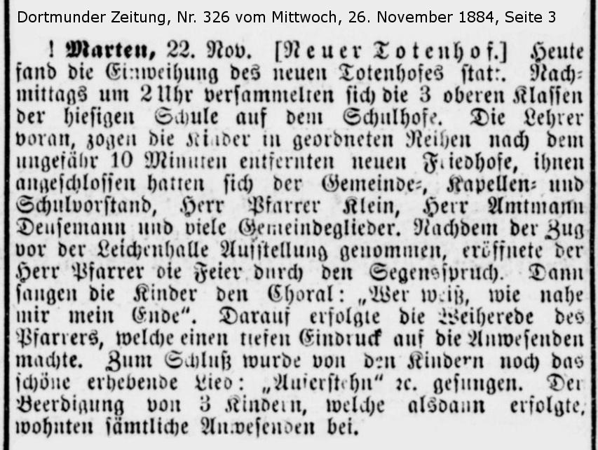 Zeitungsbericht zur Einweihung des Friedhofs Marten-Nord